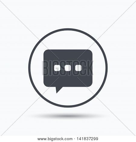 Chat icon. Speech bubble symbol. Circle button with flat web icon on white background. Vector
