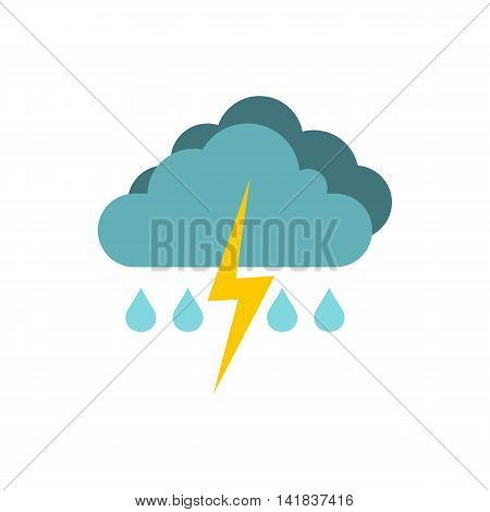 Rain with thunderstorm icon in flat style isolated on white background. Weather symbol