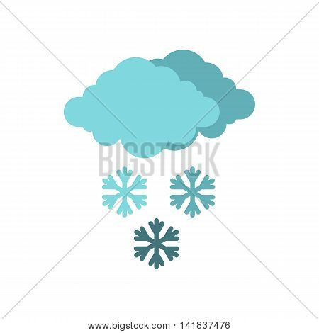 Clouds and snow icon in flat style isolated on white background. Weather symbol