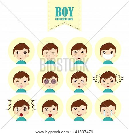 Set boy emoticons, simple and expressive cartoon female faces. Modern flat vector style.