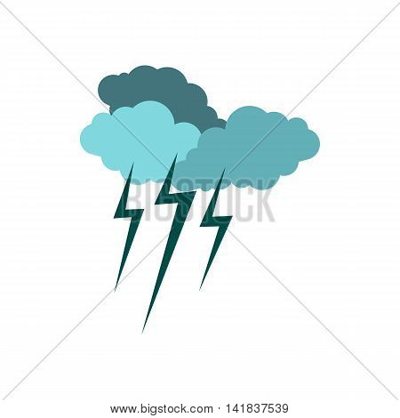 Clouds and storm icon in flat style isolated on white background. Weather symbol