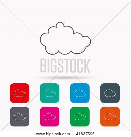 Cloud icon. Overcast weather sign. Meteorology symbol. Linear icons in squares on white background. Flat web symbols. Vector