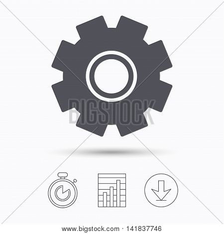 Cogwheel icon. Repair service symbol. Stopwatch, chart graph and download arrow. Linear icons on white background. Vector