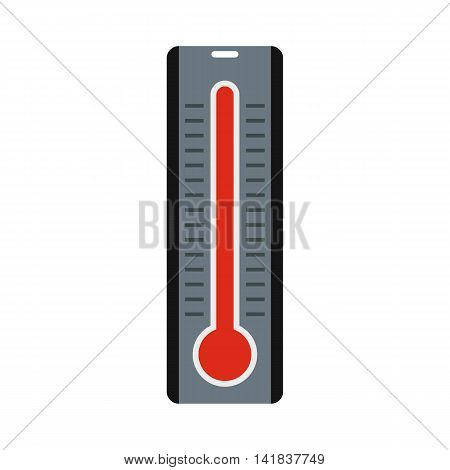 Thermometer with high temperature icon in flat style isolated on white background. Heat symbol