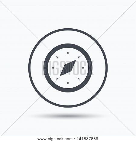 Compass icon. Navigation device symbol. Circle button with flat web icon on white background. Vector