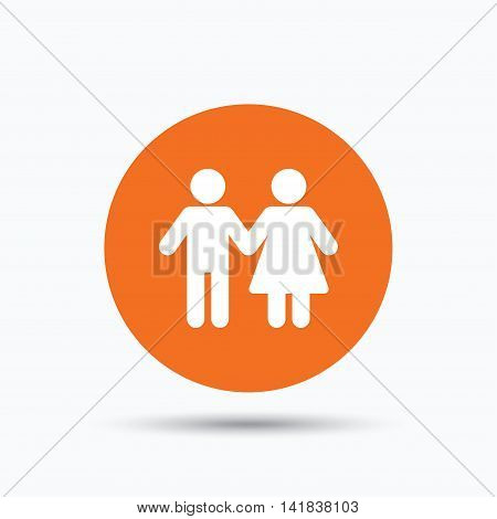 Couple icon. Traditional young family symbol. Orange circle button with flat web icon. Vector