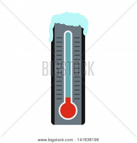 Thermometer with low temperature icon in flat style isolated on white background. Measurement symbol