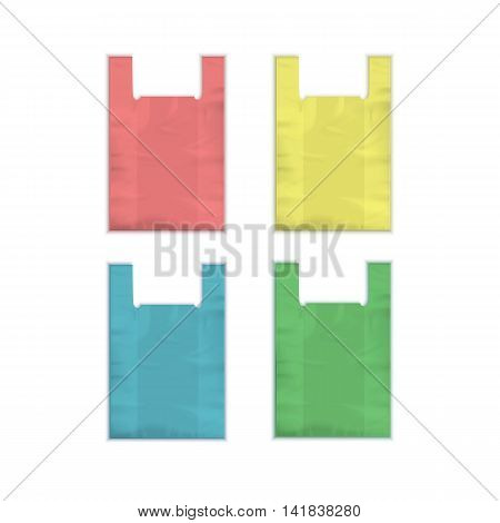 Vector Set of Colored Red Yellow Blue Green Empty Disposable Plastic Shopping Bags with Handles Close up Isolated on White Background
