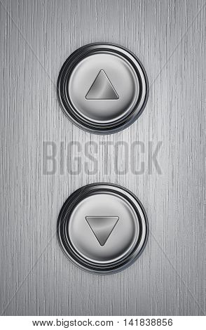 Up and down elevator buttons on a metal background. 3D rendering