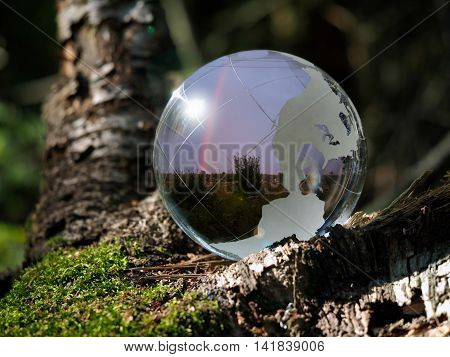 Ball Sphere in the woods on moss. Reflection - landscape field and rainbow in the sky. The concept of ecology environment peace