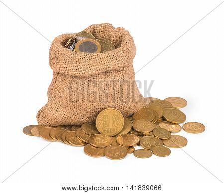 Bag with coins on white background .