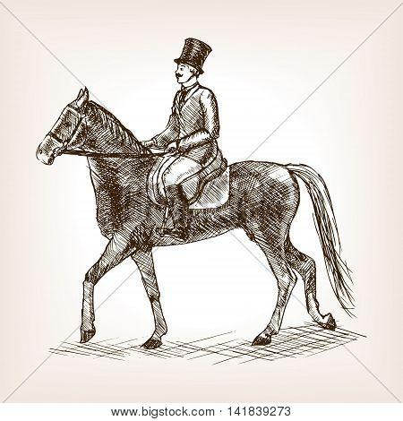 Vintage gentleman ride horse sketch style vector illustration. Old engraving imitation.
