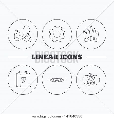 Crown, pumpkin and theater masks icons. Mustache linear sign. Flat cogwheel and calendar symbols. Linear icons in circle buttons. Vector