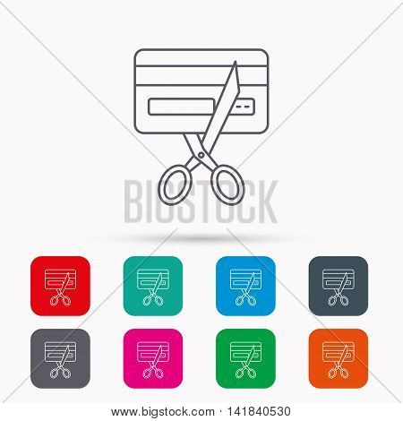 Expired credit card icon. Shopping sign. Linear icons in squares on white background. Flat web symbols. Vector