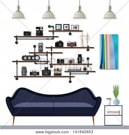 Illustations Small Living Room Idea Design Vector
