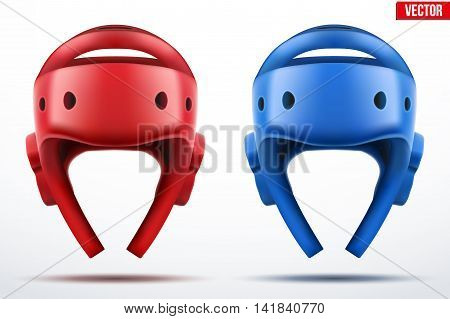 Set of Red and Blue Taekwondo helmets. Front view. Sport Equipment. Editable Vector illustration Isolated on white background.