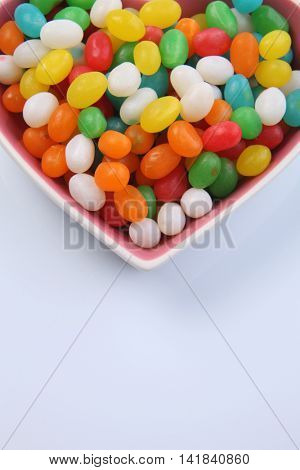 jelly beans in a heart shaped container