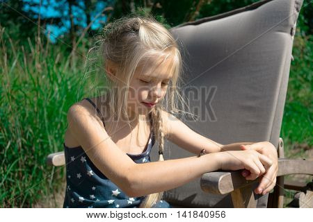 People and our little friends, abstract female portrait young girl hold his snail