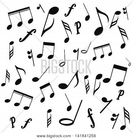 musical symbols musical notes treble clef vector on a white background. vector illustration pattern for website design or print