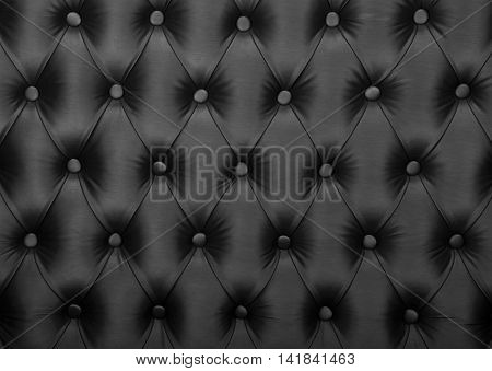 Black Capitone Tufted Fabric Upholstery Texture