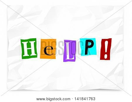 Help Ransom Note Call Plea Message Emergency 3d Illustration