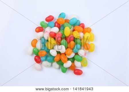 Jelly beans isolated on white background,