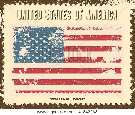 USA flag in grunge style. Vector illustration
