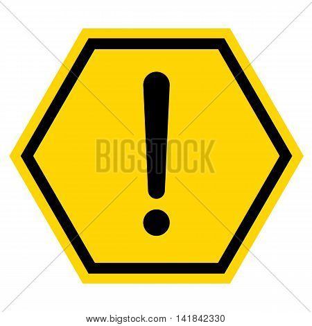 Hazard warning sign with hexagon symbol isolated on white background.