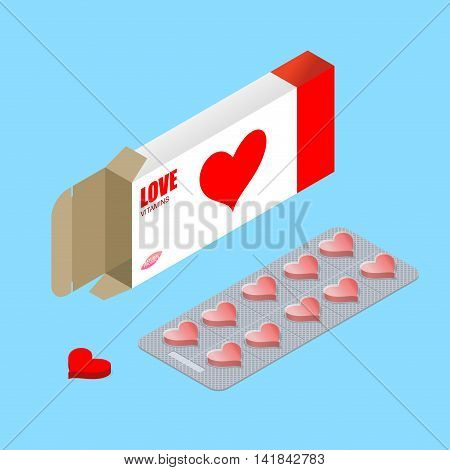 Love Pills In Pack. Lover Vitamins. Tablets In Box. Natural Products For Amour Of Heart. Romantic Me