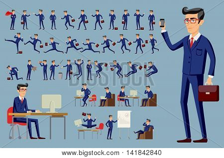 Young Cartoon Businessman In Blue Suit Vector