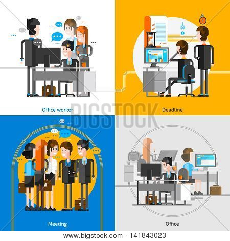 People in office interior 2x2 design concept with groups of employees at their workplace busying in teamwork vector illustration