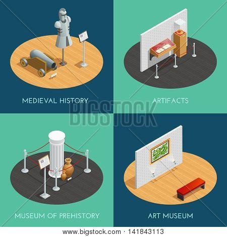 Museum 2x2 compositions presenting different exhibitions prehistory medieval history artifacts and art isometric vector illustration