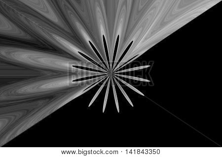 Illustration of an abstract grey flower in the middle