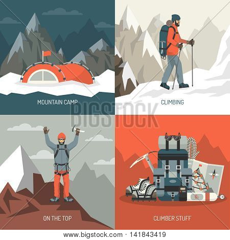 Color flat composition 2x2 depicting mountain camp climbing top stuff vector illustration