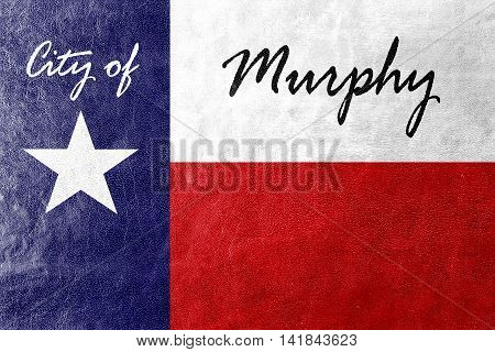 Flag Of Murphy, Texas, Usa, Painted On Leather Texture