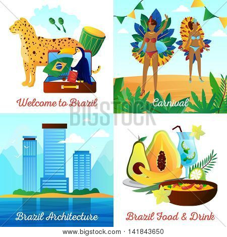 Brazil cultural travel 4 flat icons square composition with landmarks food drinks and national symbols isolated vector illustration