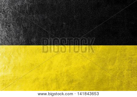 Flag Of Namur, Wallonia Region, Belgium, Painted On Leather Texture