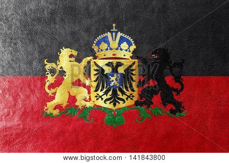 Flag Of Nijmegen With Coat Of Arms, Netherlands, Painted On Leather Texture