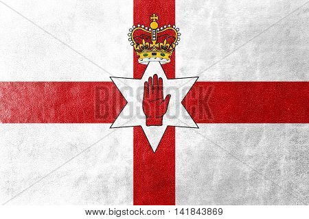 Flag Of Northern Ireland, Uk, Painted On Leather Texture