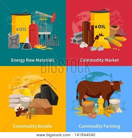 Various commodities flat 2x2 design concept with farming products and materials of industrial processing vector illustration