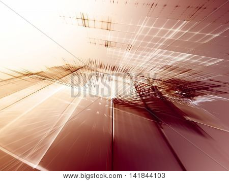Abstract background element. Fractal graphics series. Three-dimensional composition of intersecting grids. Information technology concept. Red and white colors.