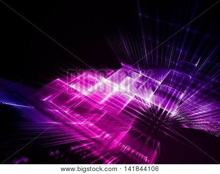 Abstract background element. Fractal graphics series. Three-dimensional composition of intersecting grids. Information technology concept. Purple and black colors.