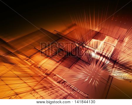 Abstract background element. Fractal graphics series. Three-dimensional composition of intersecting grids. Information technology concept. Red and black colors.