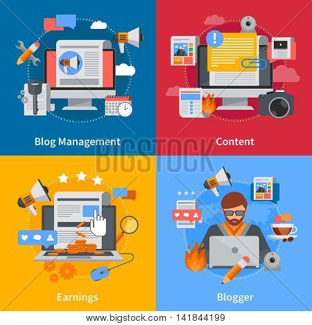 Blogging flat 2x2 icons set with blogger blog management content and earrings on colorful backgrounds isolated vector illustration