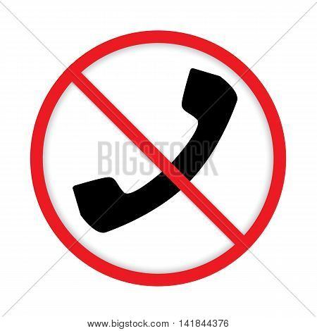No cell phone sign design on white background.
