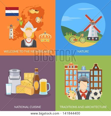 Colorful netherlands 2x2 flat icons set depicting dutch symbols nature national cuisine and architecture isolated vector illustration