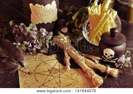 Voodoo theme with love potion and pentagram symbol, Halloween background