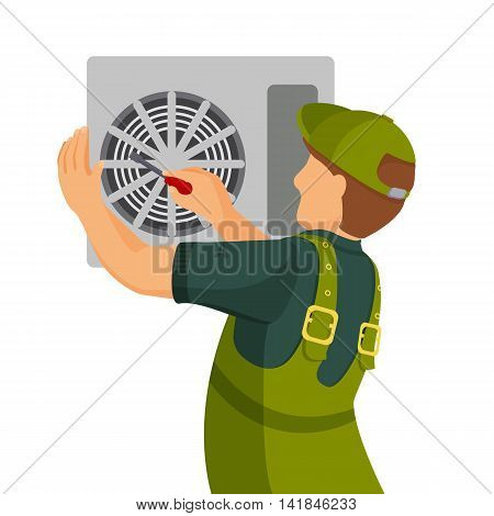 Air conditioner unit repair and installing concept. Colorful vector flat illustration.