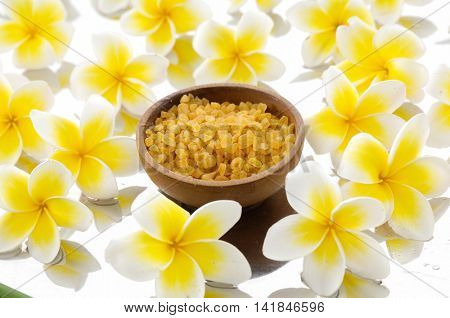 Many frangipani with salt in wooden bowl