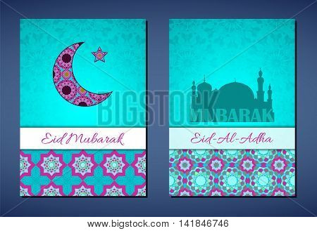 Set of vector greeting cards to Feast of the Sacrifice (Eid-Al-Adha). Congratulation's backgrounds with text and muslim symbols. A4 format